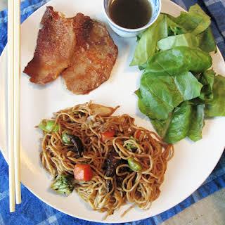 Crockpot Peking Pork Chops with Vegetable Lo Mein.