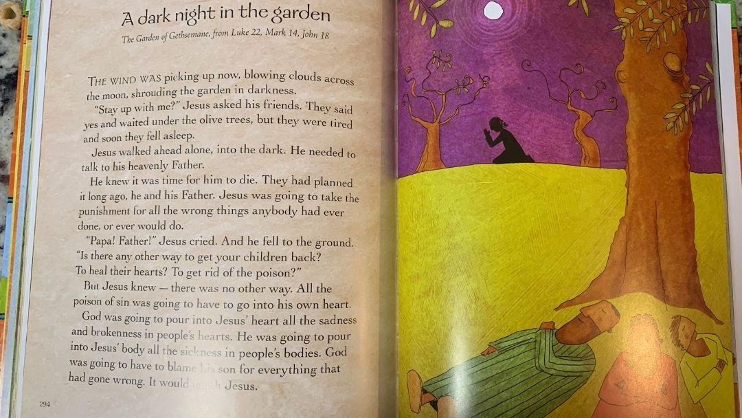 garden of gethsemane in the Jesus storybook bible - holy week for kids