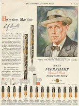 Photo: Eversharp 1930 ad   Eversharp pioneered the Personal Point concept in 1928, where a customer could have a readily interchangeable nib of his choice put into the barrel.