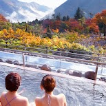 gorgeous views at the Yunessun Water Park in Hakone, Japan in Hakone, Kanagawa, Japan