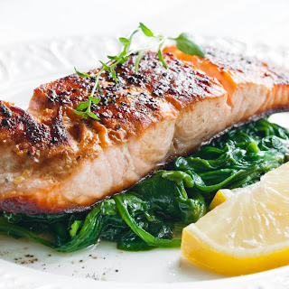 Broiled Salmon with Spinach.