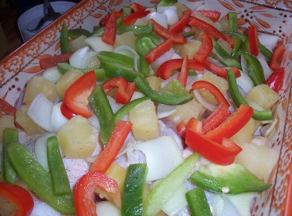 While sauce is cooling cut the remaining veggies into bite size pieces and sprinkle...