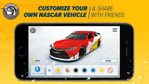 Customize your own NASCAR vehicle to share with friends on the NASCAR Acceleration Nation app