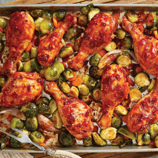 Barbecue Chicken Drumsticks with Roasted Brussels Sprouts & Carrots.