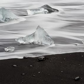 Ice on black by Kim Borup Matzen - Landscapes Waterscapes ( exposure, ice, seascape, beach, long, black )
