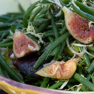 Garden Fig Salad with Greens, Grilled Corn and Haricots Verts