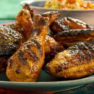 Grilled Red Chile Buttermilk Chicken with Spicy Mango Honey Glaze.