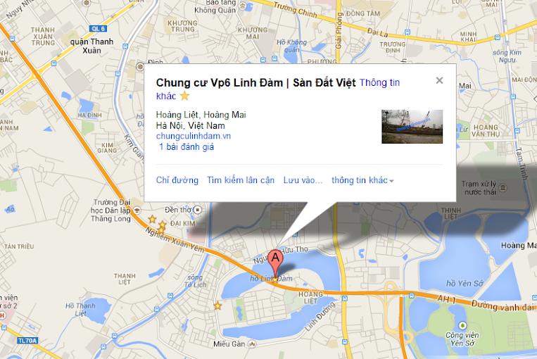Bản đồ trực tuyến vị trí Chung cư Vp6 Linh Đàm