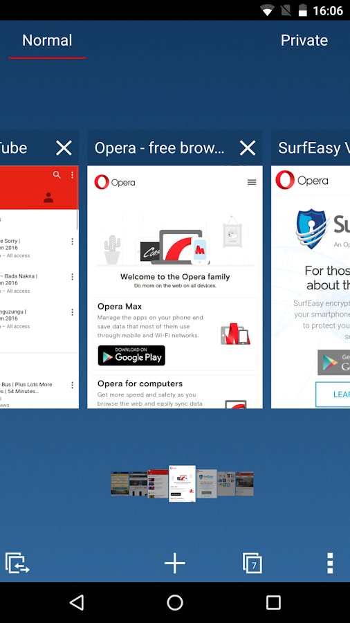 Screenshots of Opera for Android