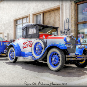 Cruisin Route 66 by Larry Landry - Typography Captioned Photos ( #route66, #ford model a, #williams arizona, #classic on route 66 )