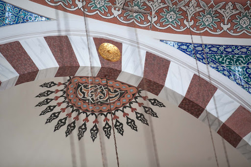 Design-work-inside-Rustem-Pasha-Mosque.jpg - Detail of the intricately decorated Rüstem Pasha Mosque in Istanbul, Turkey.