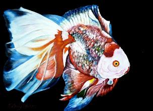 Photo: 416, Нетронина Наталья, Серия Золотые рыбки (Семицветик), Масло, замша (живопись по бархату), 40х30см,