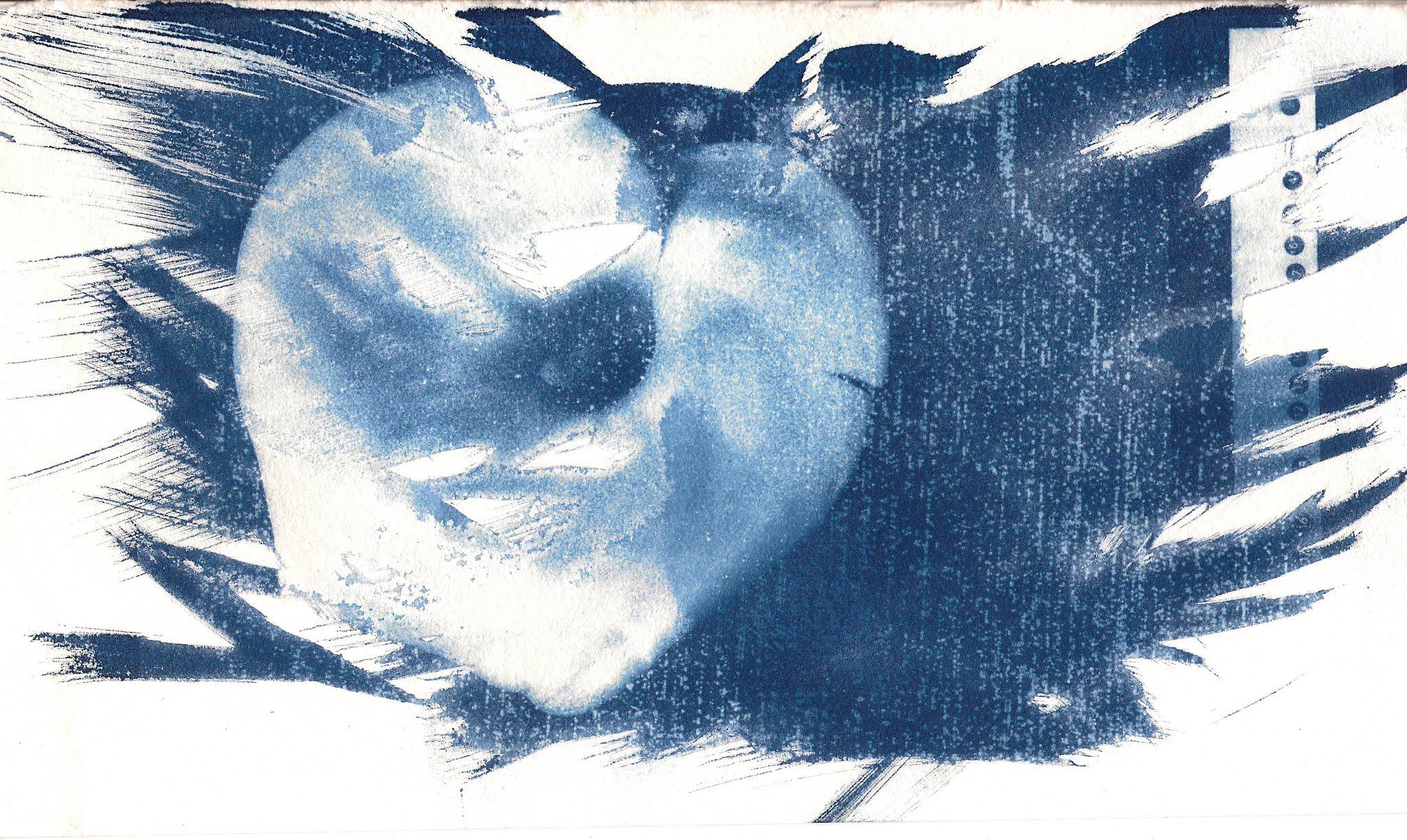 Photo: Cyanotype printed from a damaged negative