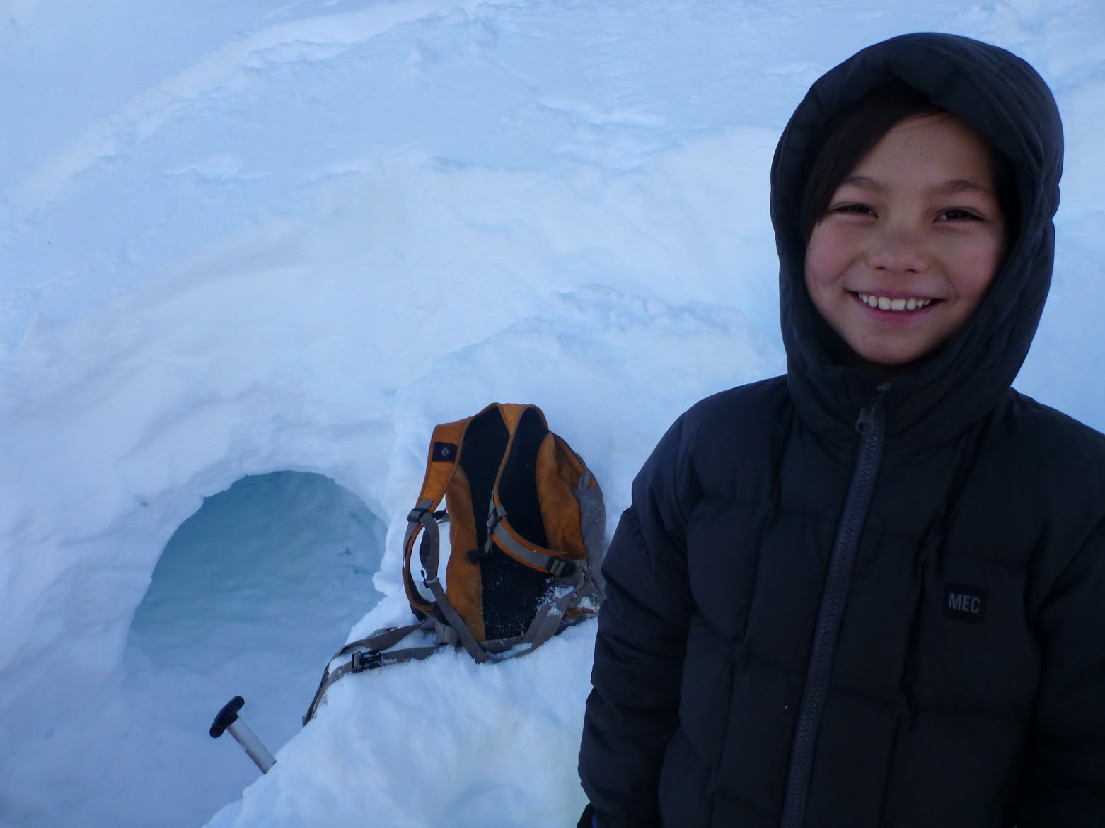 Sunlight snow cave