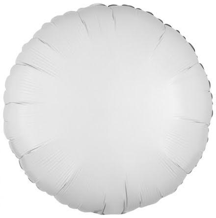 Folieballong, rund metallic vit 43 cm