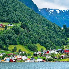 Aurland by Levent Yücelman - City,  Street & Park  Vistas ( fjord, field, seaside, grass, norway, travel, europe )