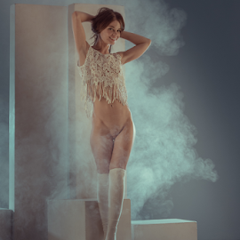 Steps by Dmitry Laudin - Nudes & Boudoir Artistic Nude ( studio, beauty, light, smoke, nude, girl, body, posing )