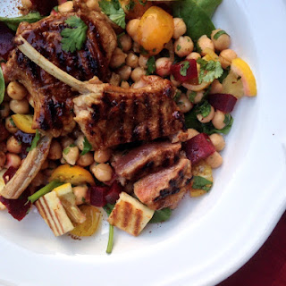 Tamarind Lamb Cutlets with Spicy Chickpea Chaat Salad