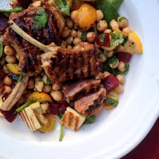 Tamarind Lamb Cutlets with Spicy Chickpea Chaat Salad.