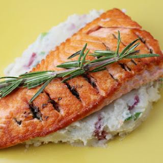 Crispy Salmon and Garlic Scallion Mashed Potatoes Recipe
