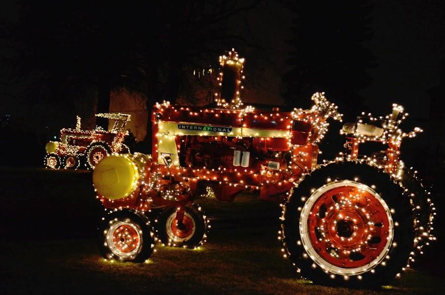 Lit Tractors by Pamela Chandra - Public Holidays Halloween ( lights, halloween )