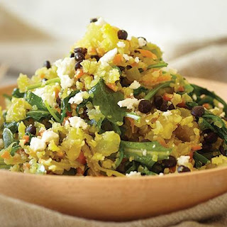 Cauliflower Couscous with Black Lentils and Heirloom Greens
