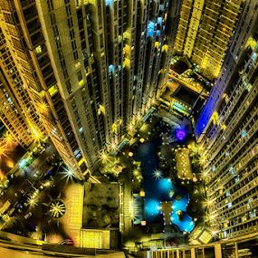 Central Park Apartments by Sefanya Dirgagunarsa - City,  Street & Park  Street Scenes ( building, night )