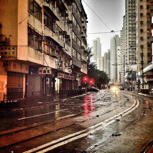 Hong Kong, Street, Typhoon,  颱風, 颱風下的香港, deserted, typhoon 8, storm