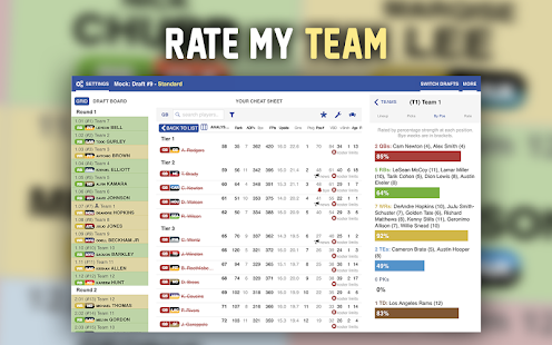 Footballguys Fantasy Football Draft Dominator 2018 Screenshot
