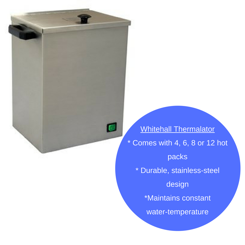 Mobile and Stationary Whitehall Thermolators are available in sizes that accommodate 4, 6, 8 and 12 moist heat packs