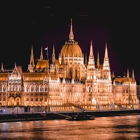 night time in budapest by Mo Kazemi - Buildings & Architecture Public & Historical ( european, night, nightscape, cityscape, budapest, riverside, travel, europe, landscape, hungary, night photography )