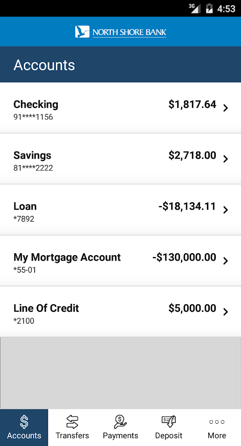 North Shore Bank Mobile- screenshot