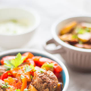 Spanish Meatballs with Red Pepper and Eggplant.