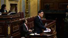 Pedro Sánchez, durante su primera intervención en el Congreso para hablar sobre Cataluña.