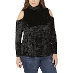 One A Womens Plus Velvet Cold Shoulder Top Black 2X
