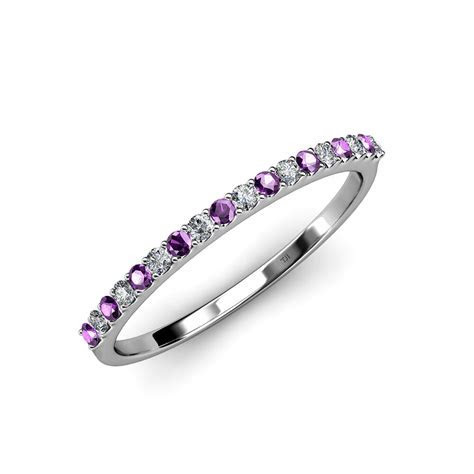 Amethyst & Diamond 18 Stone Women's Wedding Band 0.30 ct