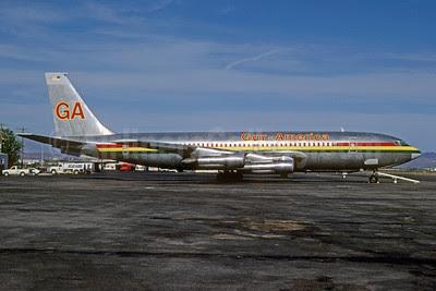 Guy-America Airways Boeing 707-123B N7583A (msn 19333) LAS (Bruce Drum). Image: 103050.