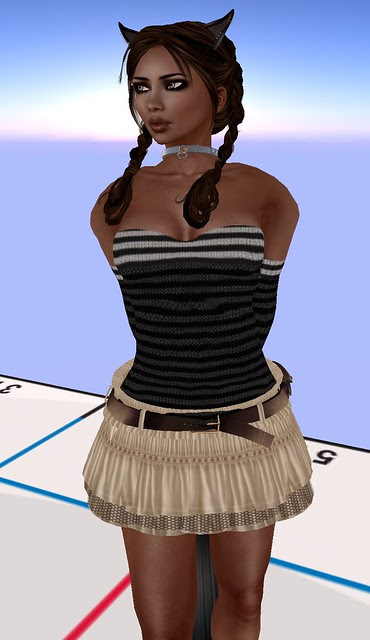 SG Fashion Coquette Beige skirt and Autumn Sweater Black May 1 2011