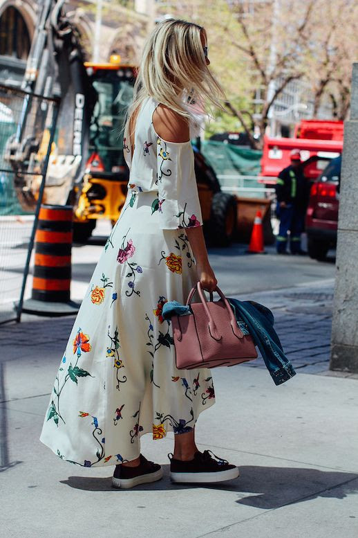 Le Fashion Blog Floral Print Maxi Dress Red Sneakers Neutral Tote Bag Via The Fashion Guitar