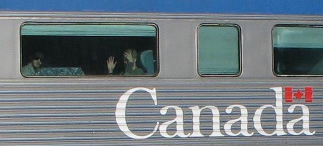 Passenger waving