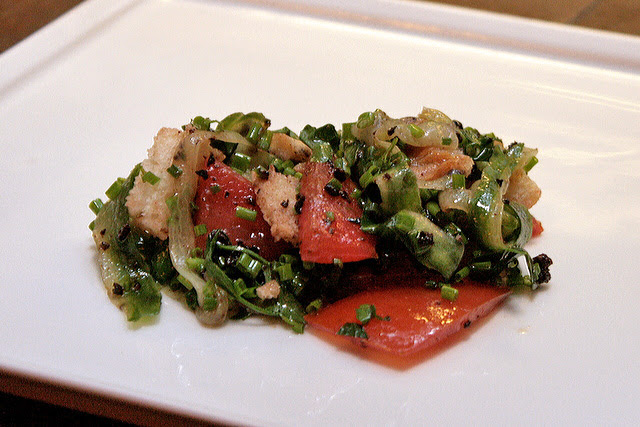 The eucalyptus salsa has tomato bread, cucumber salsa, Kalamata olive and soy dressing