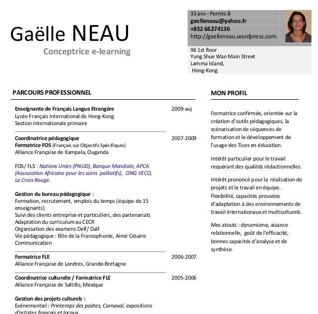 resume format  cv enseignant acadomia