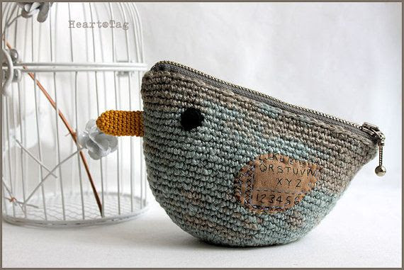Crocheted bird linen yarn pouch, smoky blue gray colors, everyday use