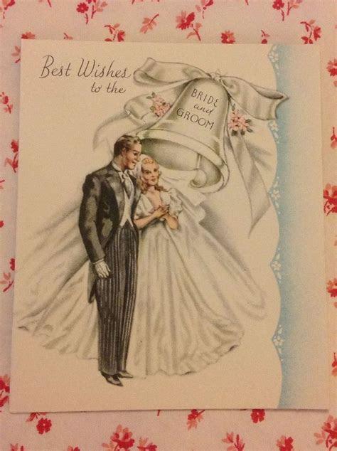 Vintage 1945 Wedding Card with Elegant Bride & Groom