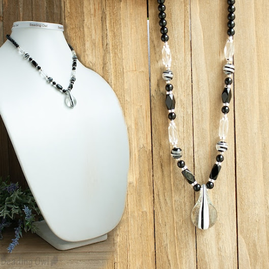 Black and White Necklace Teardrop Necklace Black Necklace