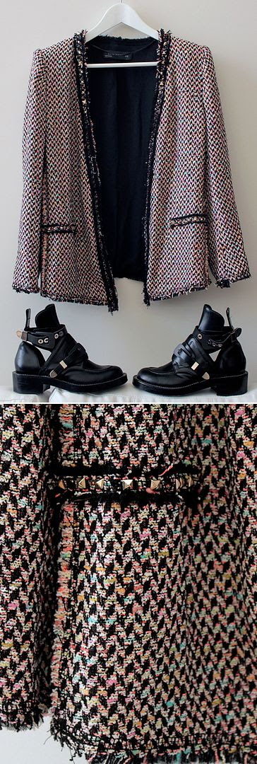 ZARA MULTICOLORED STUDDED BOUCLE TWEED NEON BLAZER 2012 BALENCIAGA 2007 INSPIRED BALENCIAGA ICONIC CUT OUT LEATHER BOOTS THICK BUCKLES LE FASHION BLOG 1