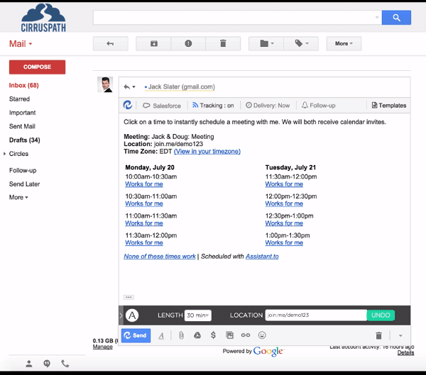 Easily schedule meetings via Gmail with Assistant.to.