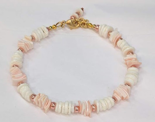 Rose Pink White Puka Shell Bracelet Glass bead Bracelet