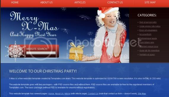Christmas Red Blue Website Template