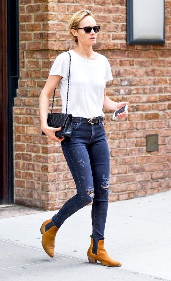 Le Fashion Blog Model Off Duty Street Style Amber Valletta Short Hair White Tee Chanel Bag Dark Ripped Jeans Tan Rag Bone Dixon Suede Ankle Boots Via Zimbio